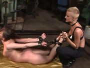 Precious Brunette Chick Rebecca Contreras With Tied Up Hands And Legs Is Being Rudely Punished By Her Lesbian Blonde Girlfriend Sinead.