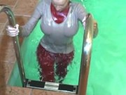 German Wetlook With Fully Clothes Swimming