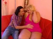 Fat Belly Blonde Fucked By Skinny Guy