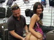 Tempting Short Haired Brunette Milf With Natural Boobies And Perfect Firm Round Bums In Colorful Summer Dress Teases Filthy Dude And Takes On His Cock In Shop In Point Of View.