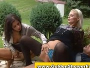 Pissing Clothed Classy Watersports Threesome