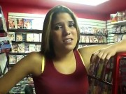 Cute Sexy Brunette Samantha Is Showing Her Sexy Bums For Joshs Viewing Pleasure At The Video Store