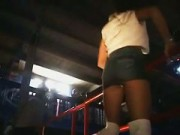 Sexy And Horny Brunette Slut Slapping Her Own Ass In A Disco