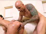 Aleksa Nicole Gets Her Kind Pussy Bashed By Angry, Tattooed Man. He Thrusts His Cock In Her Throat And Makes Her Gag For A Little Big. Then He Seats Her Upon The Big Cock.