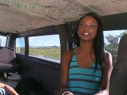 Young Pretty Black Girl Tiffany Tailor With Long Legs And Pretty Face Takes Off Clothes And Reveals Her Firm Medium Hooters To Filthy Studs In Bang Bus On A Hot Summer Day.
