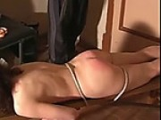 Kinky Brunette Gets Her Butt Flogged On The Bench
