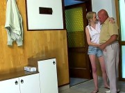 The Fact That She Has A Chance To Fuck An Older Dude Is Making Blonde Teen Jenni Even Hornier. That Is Why She Is About To Let Him Lick Her Teeny Pussy For Breakfast.