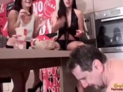 Fat Male Slave Is Fed Food By A Group Of Abusive Ladies