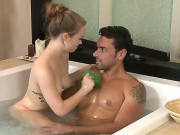 Young Pretty Brunette Doll Madison Chandler With Soft Pale Skin And Pierced Nipples Gives Massage And Pleasures Tall Stud Ryan Driller With Muscled Body And Stiff Cannon In Bathtub.