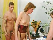 Awesome MILF In Stockings Blows Two Hard