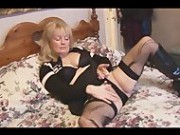 Mature Busty Blonde Babe In Stockings And Mini Skirt Striptease - Mature Sex Video